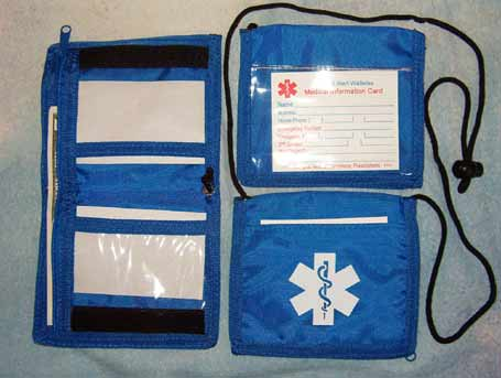Medical Alert Wallets, Bi-fold Neck Medical Wallet, color; royal blue photo