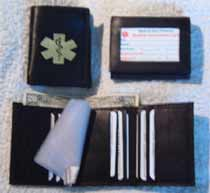 Medical Alert Walelts, Exterior ID Tri-fold Medical wallet