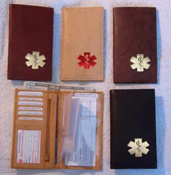 Medical Alert Wallets, Deluxe Checkbook leather Medical wallets, 4 colors shown