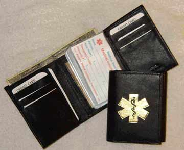 Medical Alert Wallets,Tri-fold black leather Medcial wallet with gold color medical symbol