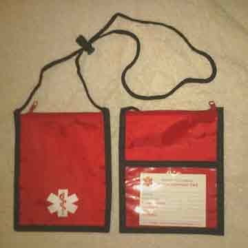 Medical Alert Wallets, Neck Wallet 1 top zipper, Red color shown