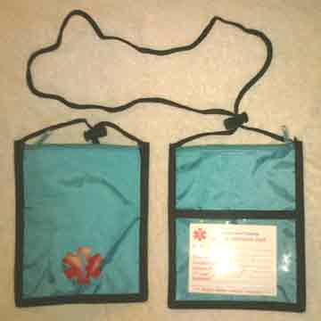 Medical Alert Wallets, Neck Wallet 1 top zipper, Teal color shown