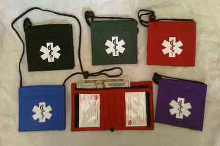 Medical Alert Wallets, Bi-fold Neck Medical Wallets, 5 colors to choose from