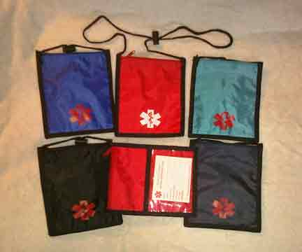 Medical Alert Wallets, Medical Neck Wallet 1 zipper at top, 5 colors shown