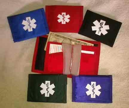 Medical Alert Wallets, Nylon Sports Wallets 5 colors shown.