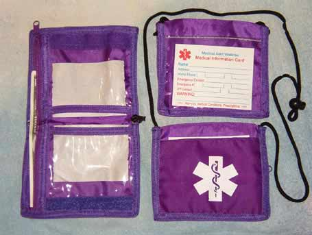 Medical Alert Wallets, Bi-fold Neck wallet with removable cord, color purple photo