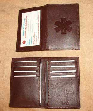 Medical Alert Wallets, Credit Card ID leather bi-fold Medical wallet with debossed symbol, dark brown shown
