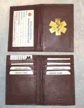Medical Alert Wallets, Credit Card ID brown leather bi-fold Medical wallet with gold color Medical symbol