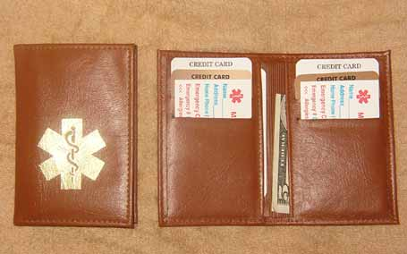 Medical Alert Wallets, Hipster light brown leather bi-fold Medical wallet