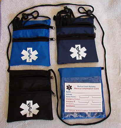 Medical Alert Wallets, Neck Wallet with 2 zippers, all 3 colors shown