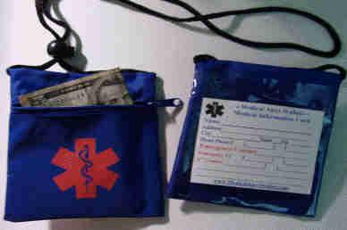 Medical Alert Wallets, Neck Wallet with 1 zipper