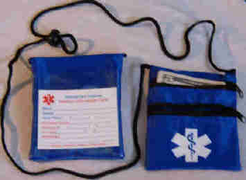 Medical Alert Wallets, Neck Wallet with 2 zippers, royal blue shown