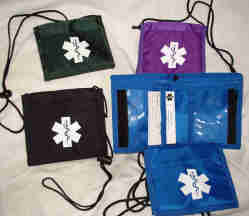 Medical Alert Wallets, Bi-fold Neck Medical Wallet image, 4 colors, black, forest green, purple and royal blue