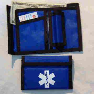 Nylon Wallet with Black Trim, color; royal blue