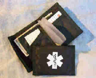 Medical Alert Wallets, Nylon Sports bi-fold Medical Wallet with clear card slots, black wallet shown.