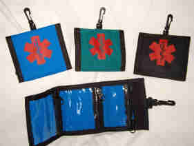 Medical Alert Wallets, Tri-fold Medicine wallet image, 3 other colors shown
