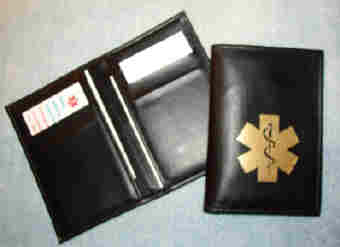 Medical Alert Wallets, Black Hipster leather Medical wallet