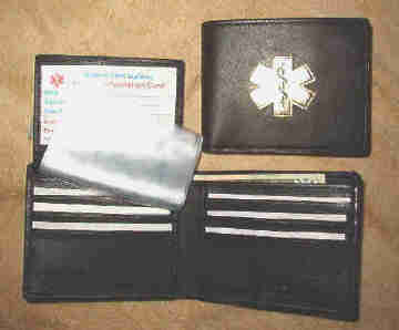 Medical Alert Wallets bifold black leather wallet with flip ID and Gold symbol