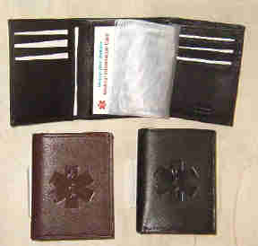 Medical Alert Wallets, Tri-fold leather Medcial wallet with dedossed Medical symbol