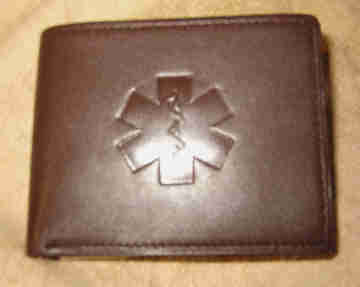 Medical Alert Wallets, Dark Brown Bi-fold Leather Medical Wallet shown closed