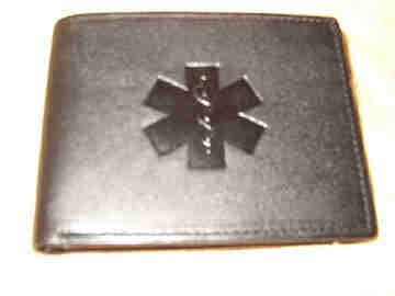 Medical Alert Wallets, Black bi-fold Leather Medical Wallet shown closed