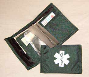 Medical Alert Wallets, Nylon Sports bi-fold Medical wallet color forest green