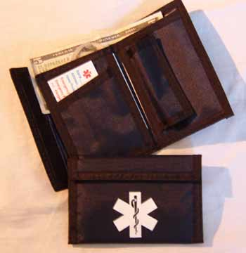 Medical Alert Wallets, Nylon Velcro Bi-fold Medical wallet with black trim color black