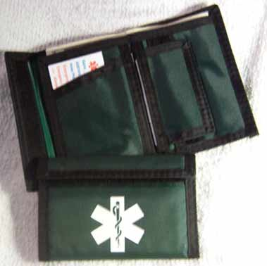 Nylon wallet with black trim color forest green