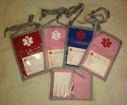Medical Alert Wallets, Open Top Neck Wallet, 4 color combinations