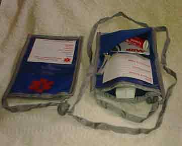 Medical Alert Wallets, Blue with red medical symbol Open Top Neck Wallet, Top & Side view shown