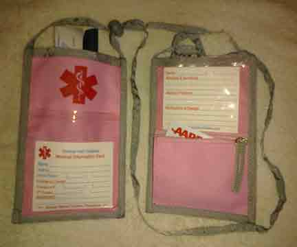 Medical Alert Wallets, Open Top Neck Wallet, Pink with red medical symbol shown