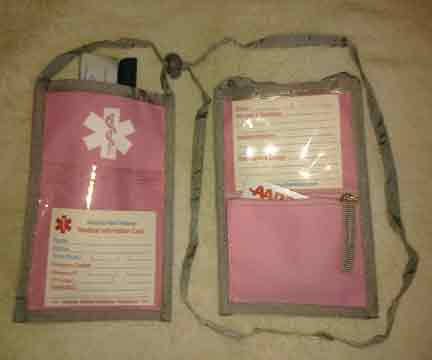Medical Alert Wallets, Open Top Neck Wallet, Pink with white ned symbol shown