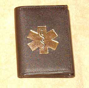 Medical Alert Wallets, Tri-fold dark brown leather Medical wallet with gold color symbol