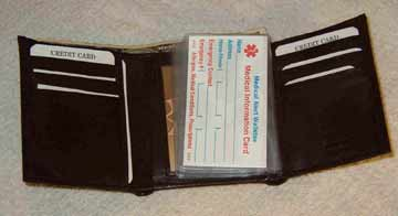 Medical Alert Walelts, Tri-fold leather Medical wallet inside view