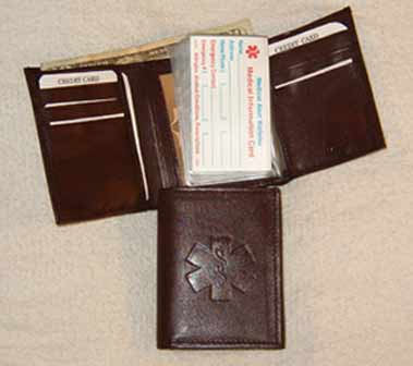 Medical Alert Wallets, Tri-fold dark brown leather Medical wallet picture