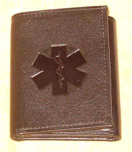 Medical Alert Wallets, Tri-fod dark brown leather Medical wallet, picture  lightened up a little